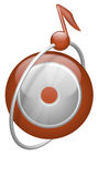 Music CD button note in orbit Royalty Free Stock Photo