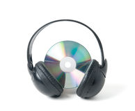 Music CD and headphones Royalty Free Stock Image