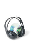 Music CD and headphones.  Royalty Free Stock Image