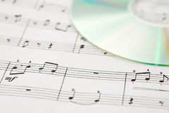 Music CD and music sheet Stock Image