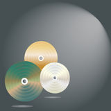 CDs on gray background Royalty Free Stock Images