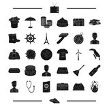 Music center, fire, phonendoscope and other web icon in black style. passport, French, Paris, appearance icons in set Stock Photos
