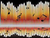 Music chart. Illustration of an abstract music graph with musical notes Stock Image