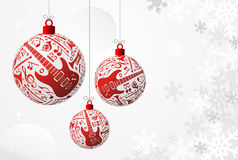 Music Christmas card. Love Christmas music concept illustration. Music instruments set in red bauble shape background. Vector file available Royalty Free Stock Photos