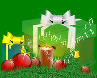Music christmas card. Music Christmas candlestick and gift Stock Image
