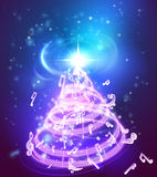 Music Christmas Tree. A magic music musical notes Christmas tree background illustration of a holiday Christmas tree made up of musical notes Stock Images