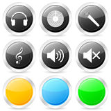 Music circle icon set Stock Images