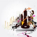 Music city. Illustration drawing of music city Stock Photos