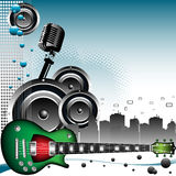 Music in the city. Colorful background with retro microphone shape, loudspeakers, electric guitar and city skyscrapers. Music theme Stock Photo