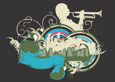 Music in the city. Illustration of a trumpeter and urban buildings Royalty Free Stock Images
