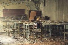 Music class in school № 3, Pripyat. Chernobyl alienation zone Stock Photo