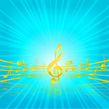 Music Classic Key Gold Color On The Blue Royalty Free Stock Image