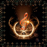 Music,clef with light effects Royalty Free Stock Images