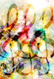 Music clef in space with stars. abstract color background. Music concept. Stock Photo