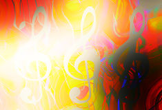 Music clef in sun light and color background. Music concept. Stock Photos