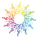 Music Clefs Radial Rainbow Pattern Stock Image