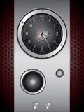 Music clock with speakers Royalty Free Stock Image