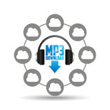 Music cloud connection download mp3 graphic Royalty Free Stock Images