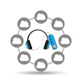 Music cloud connection headphone note musical graphic. Vector illustration eps 10 Royalty Free Stock Image