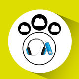 Music cloud connection headphone note musical graphic. Vector illustration eps 10 Stock Images