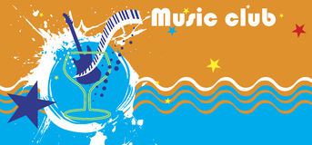 Music club banner.Abstract sea motive.Piano bar Stock Image