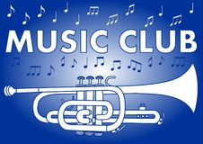 Music club banner with trumpet and music notes in white and blue design on gradient background Royalty Free Stock Images
