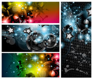 Music Club banners set for disco dance flyers Royalty Free Stock Photos
