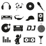 Music club dj black simple icons set eps10 Royalty Free Stock Photos
