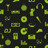 Music club dj icons dark seamless pattern eps10 Royalty Free Stock Image