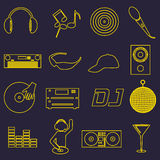 Music club dj simple outline icons set eps10 Royalty Free Stock Images