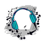 Music club flyer party background vector. Abstract music club flyer line design with headphone sign isolated background vector Stock Photo