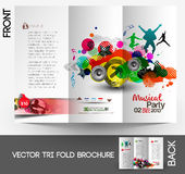 Music Club Party Tri-Fold Brochure Stock Photo