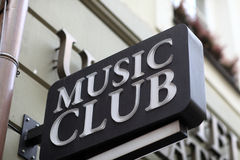 Music club sign Royalty Free Stock Image