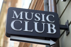 Music club signboard Royalty Free Stock Image