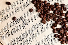 Music and coffe beans Royalty Free Stock Photos
