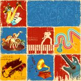 Music Collage. Illustration of collage of different music concept Royalty Free Stock Images