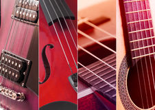 Music Collage. Collage of photos of tinted blue guitar and amp Stock Image