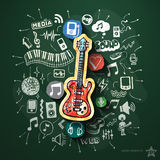 Music collage with icons on blackboard Royalty Free Stock Photography