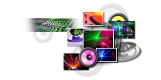 Music Collection. Futuristic Collection in Entertainment Music and Disco stock illustration