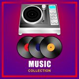 Music collection. Vinyl record player, vinyl records on abstract background royalty free illustration