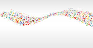 Music color wave. Banner with notes stock illustration