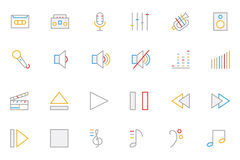 Music Colored Outline Vector Icons 1 Royalty Free Stock Images