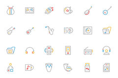 Music Colored Outline Vector Icons 3 royalty free stock photo