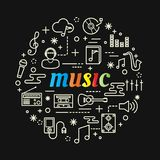 Music colorful gradient with line icons set Royalty Free Stock Photo