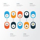 Music Colorful Outline Icons Set. Collection Of Harp, Barrel, Amplifier And Other Elements. Also Includes Symbols Such Royalty Free Stock Image