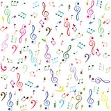 Music. Colorful treble clef and notes Royalty Free Stock Photos