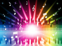 Music Colors Background Shows Instruments Songs And Frequencies Stock Image