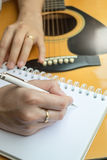 Music Composer Hand Writing Songs. Stock photo royalty free stock photos