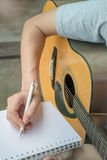 Music Composer Hand Writing Songs. Stock photo royalty free stock photography