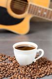 Music composer morning routine. Fresh coffee, fresh idea concept royalty free stock image